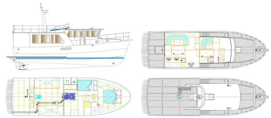 Helmsman 43 Pilothouse-layout